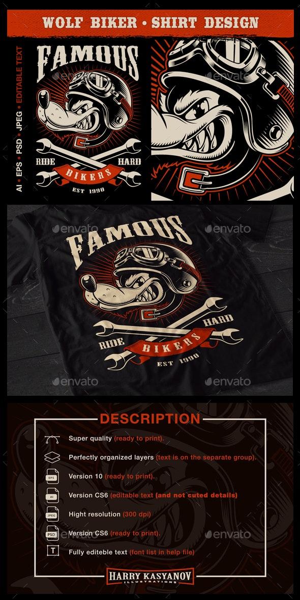 Wolf biker - Designs T-Shirts