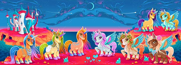 Groups of Unicorns and Pegasus in a Fantasy Landscape