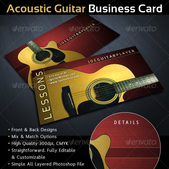Acoustic Guitar Musician Business Card