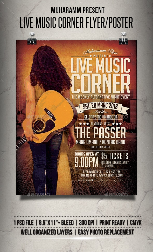 Live Music Corner Flyer / Poster - Events Flyers