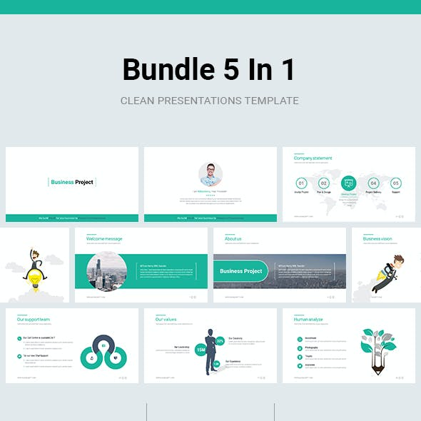 Bundle 5 In 1  Business  Powerpoint Template