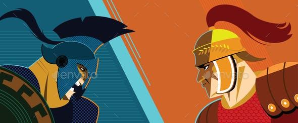 Warrior versus warrior. Opposition of Roman soldiers to each other