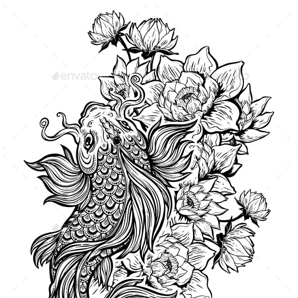 Koi Carp Fish with Lotus Flowers.