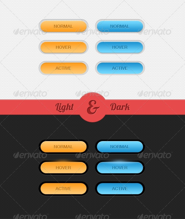 Light & Dark - 3 Kind of Buttons - Buttons Web Elements