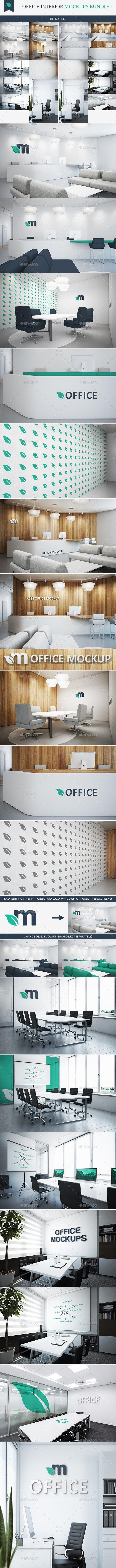 Office Interior Branding Mockups Bundle - Logo Product Mock-Ups