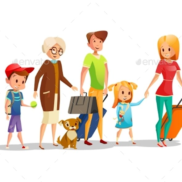 Family Travel Vector Illustration of Kids, Parents