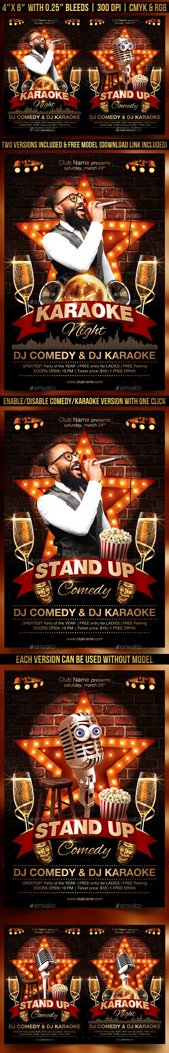 Karaoke and Comedy Flyer - Clubs & Parties Events