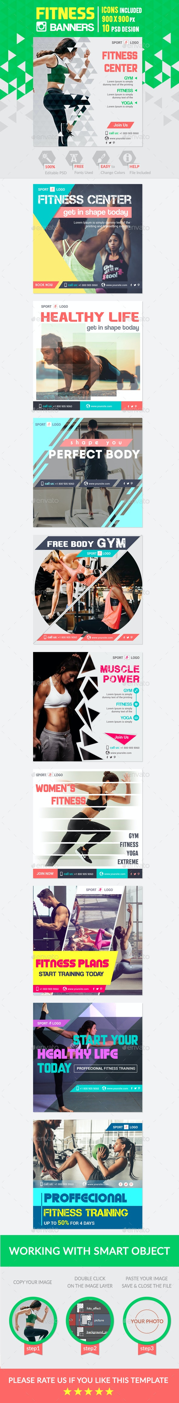 Fitness & Sport Instagram Banner - Banners & Ads Web Elements