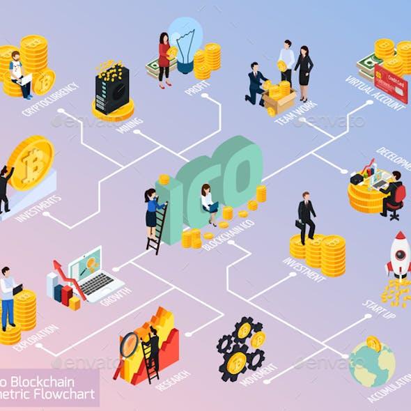 ICO Blockchain Isometric Flowchart