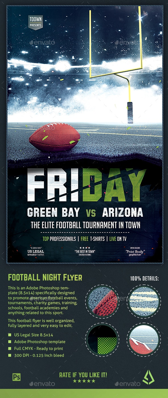 American Football Flyer - Football Night Poster 8.5x14 Design Template - Sports Events