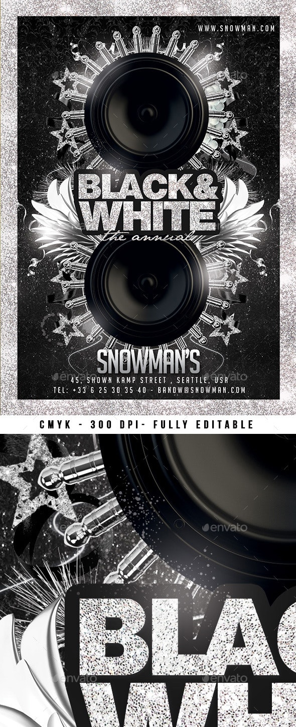 Black And White Lounge Flyer - Clubs & Parties Events