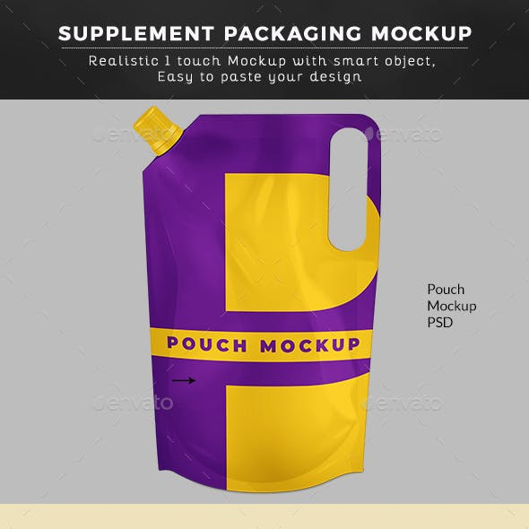 Stand Up Pouch W/ Spout And Handle Mockup