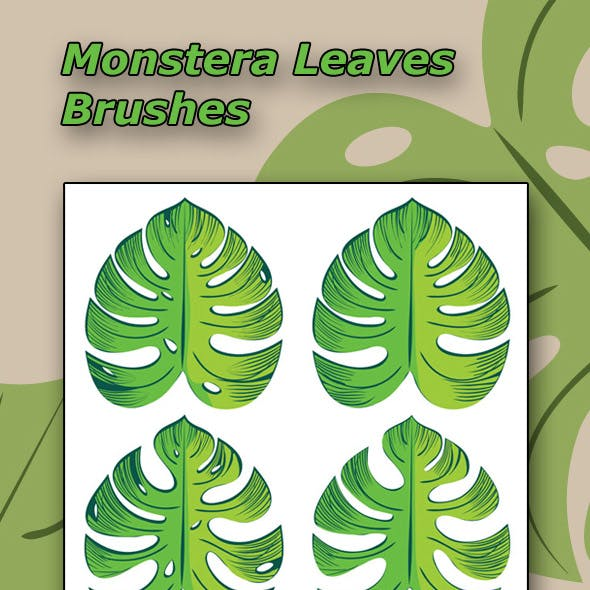Green Monstera Leaves Brushes