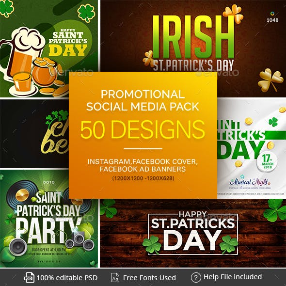 St.Patricks Day Social Media Pack  - Instagram, Facebook ads - Facebook Covers - 50 Designs