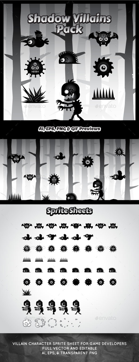 Villain Game Character Sprite Sheets - Sprites Game Assets