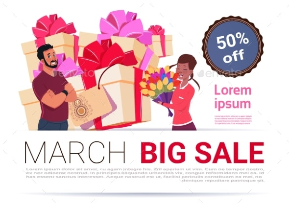 Big Sale On 8 March Banner Template International - Backgrounds Decorative