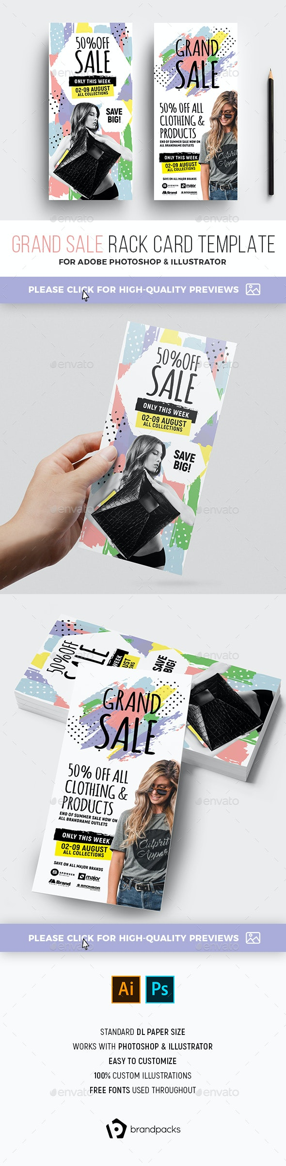 DL Grand Sale Rack Card Template - Commerce Flyers