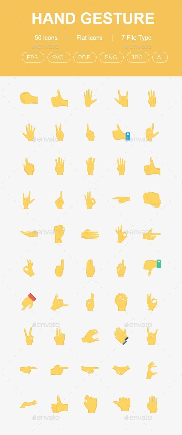 50 Hand Gestures Flat Icons