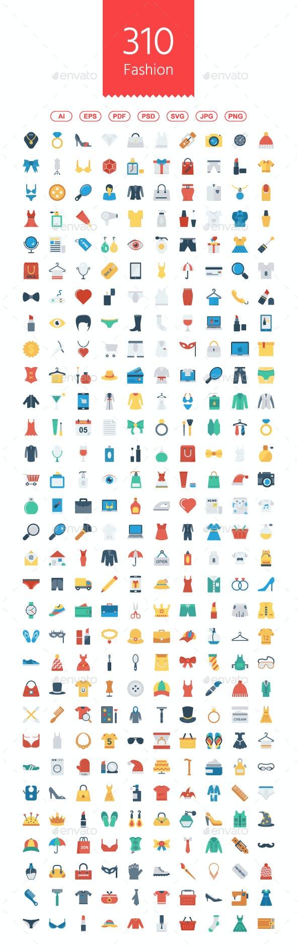 310 Fashion Flat icons