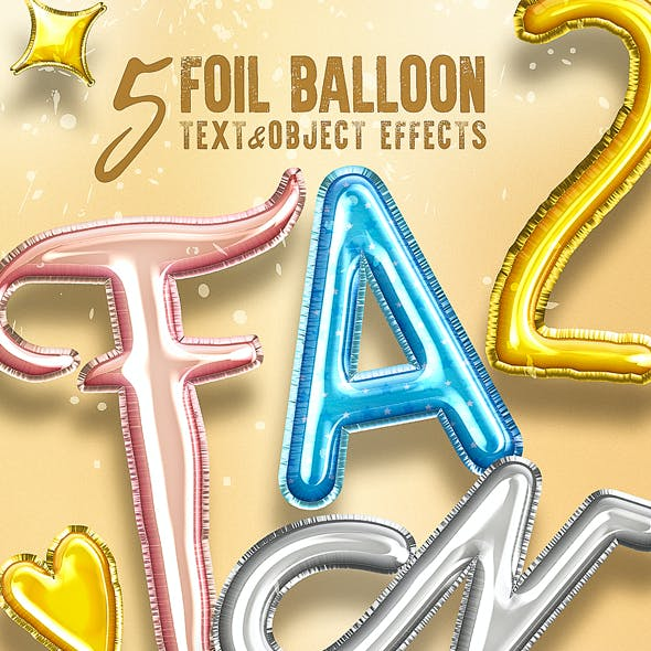 5 3D Foil Balloon Text Effects for Photoshop