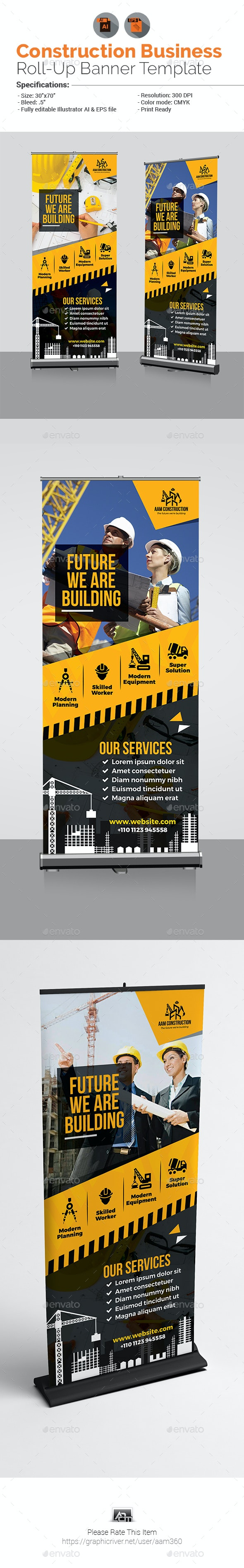 Construction Business Roll-Up Banner Template - Signage Print Templates