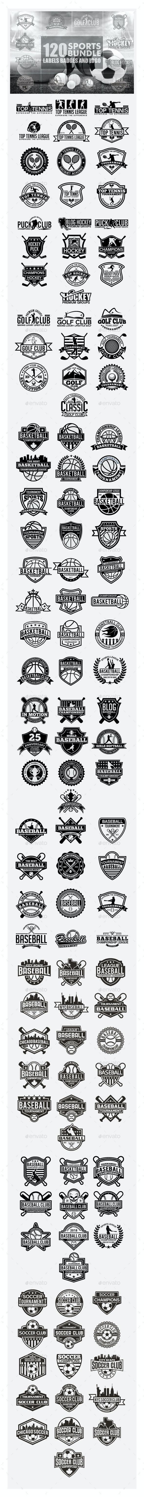 120 Sports Badges and Logo Bundle - Badges & Stickers Web Elements