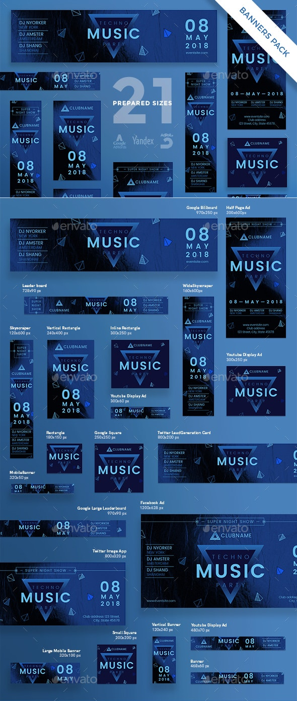 Music Party Banner Pack - Banners & Ads Web Elements