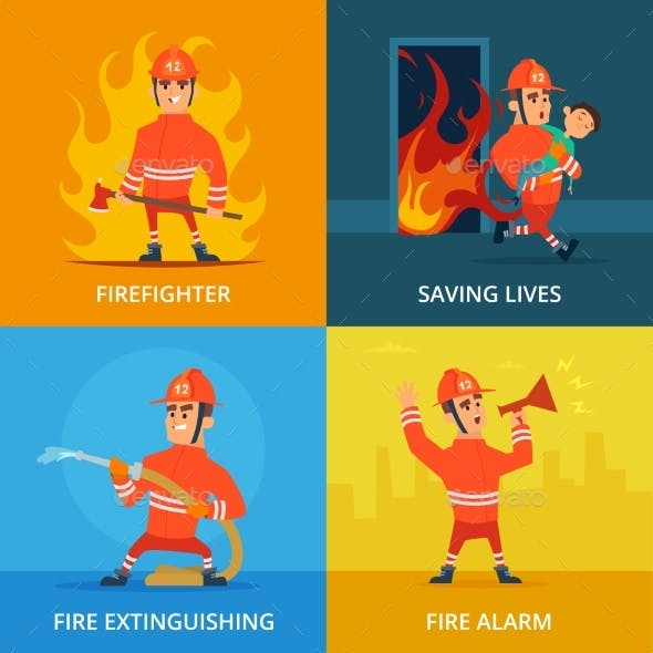Conceptual Pictures of Firefighter and Work
