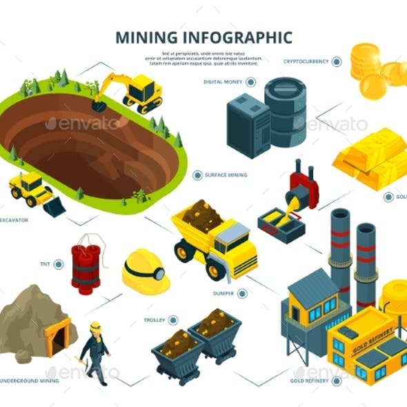 Logistic of Mining Industry. Infographic Pictures