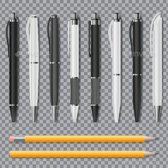 Set of Realistic Office Elegant Pens and Pencil