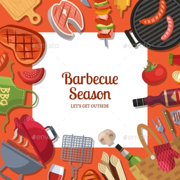 Vector Illustration with Barbecue or Grill Cooking