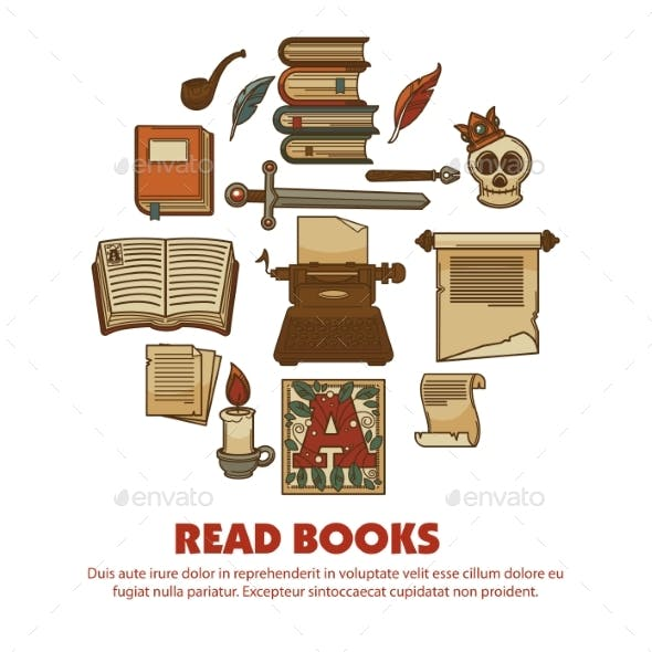 Read Books Agitative Poster with Ancient Written
