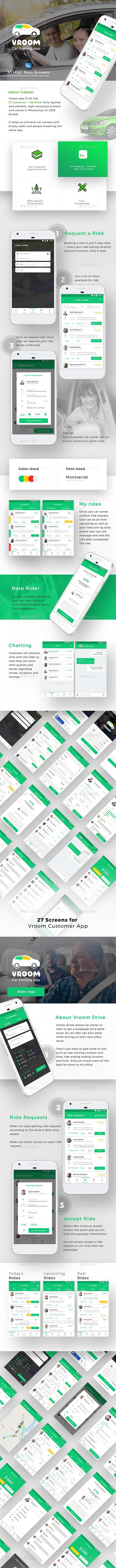 Car Pooling App Ui Set 53 High Reso Screens Vroom By Opuslabsin
