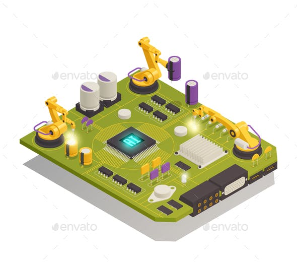 Semiconductor Electronic Components Isometric Composition
