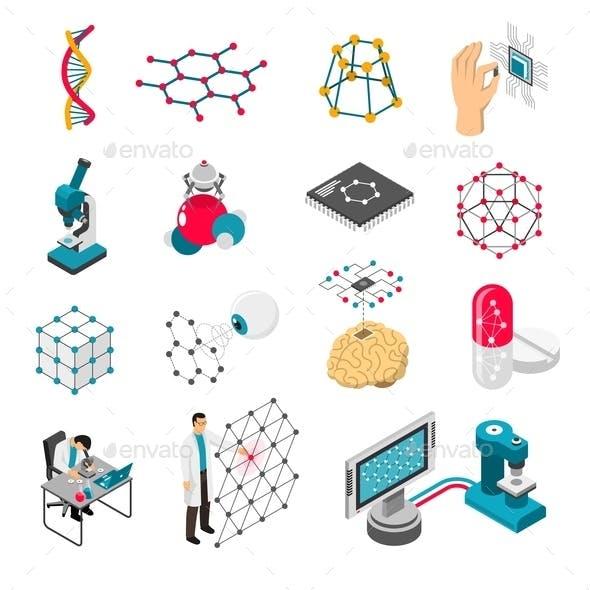 Nano Technology Isometric Icons Set