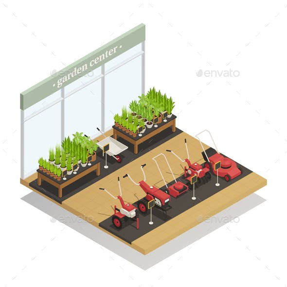 Garden Center Equipment Sale Isometric Composition