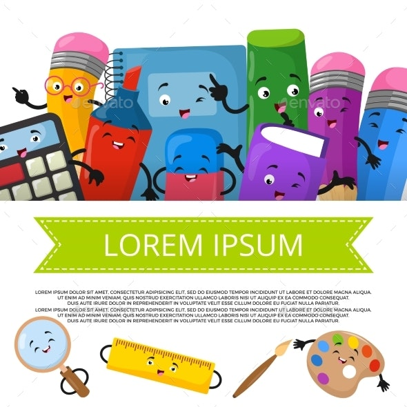 Cartoon Stationery Banner Template - Objects Vectors