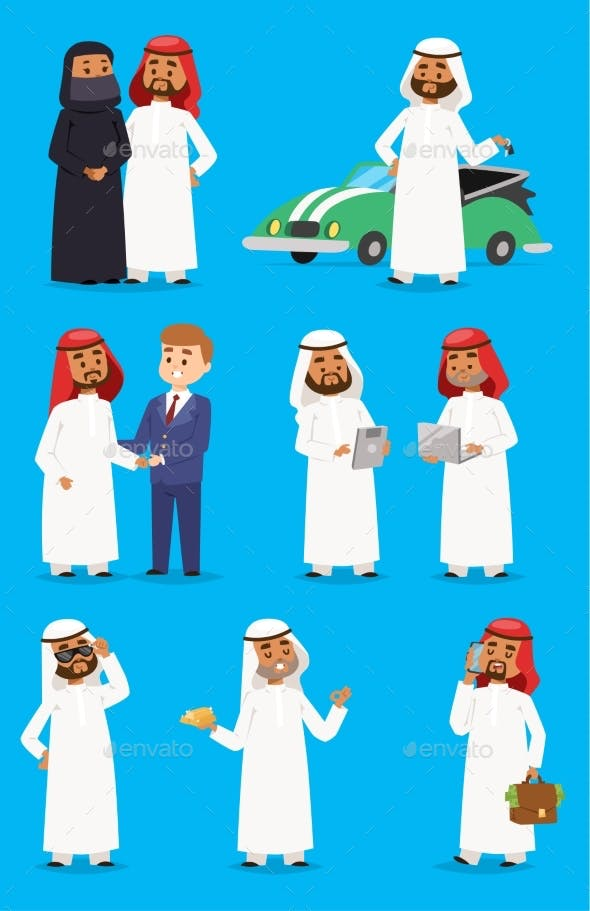 Cartoon Arabic Businessman Vector Characters