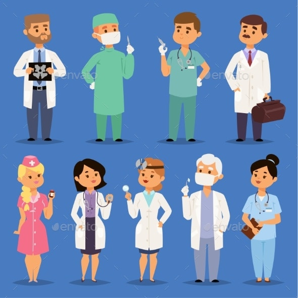 Doctors Vector Male and Female Doctoral Character - Health/Medicine Conceptual