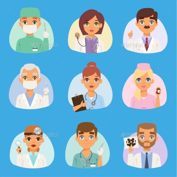 Doctors and Nurses Medical Staff Vector People