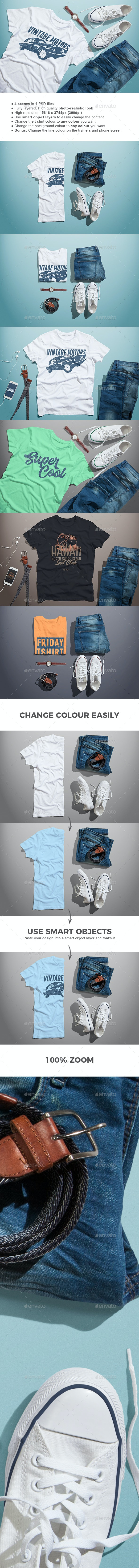 Male T-shirt Mock-up - T-shirts Apparel