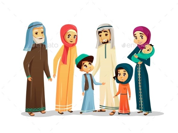 Vector Cartoon Arab Family Characters Set