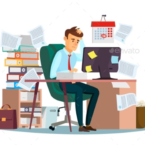 Man Overwork in Office Vector Illustration