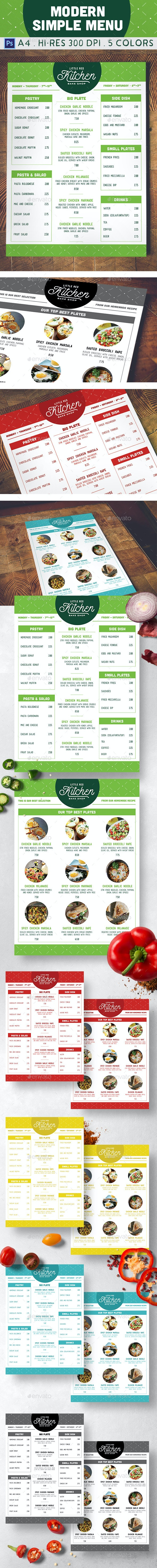 Modern Simple Menu - Food Menus Print Templates