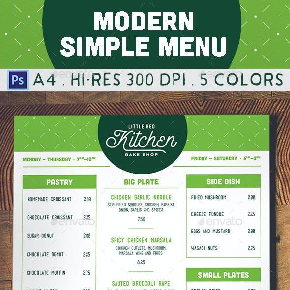 Modern Simple Menu