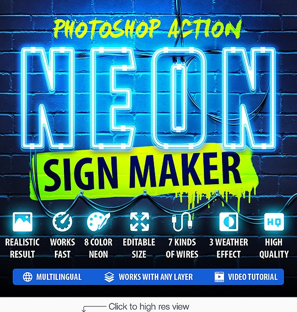 Neon Sign Maker Photoshop Action - Utilities Actions