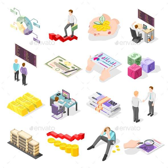 Stock Exchange Isometric Icons