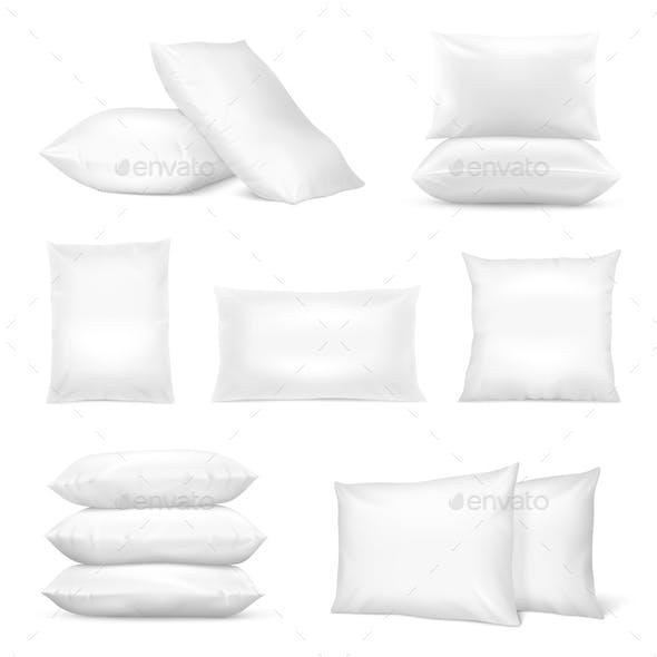Realistic White Pillows Mockup Set