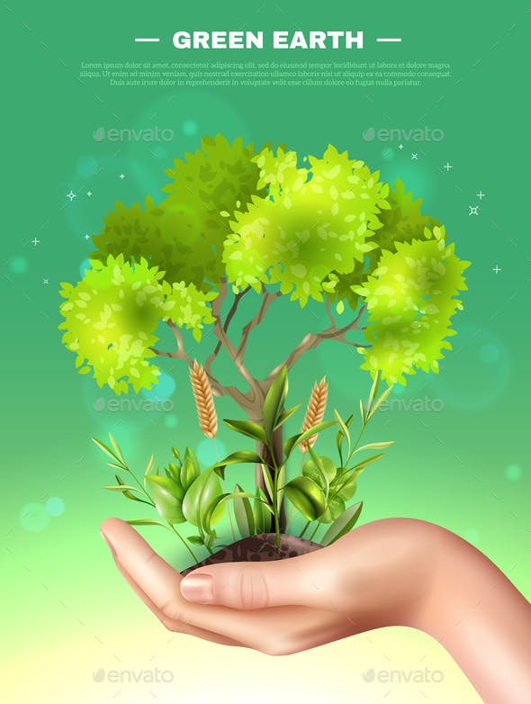 Realistic Hand Plants Ecology Illustration