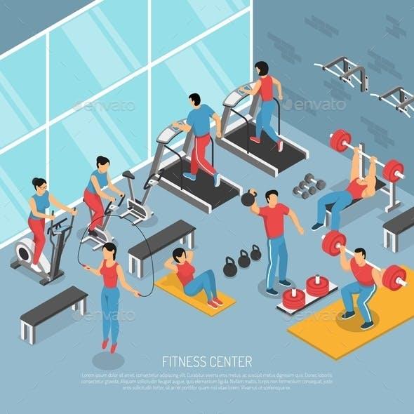Fitness Center Interior Isometric Poster